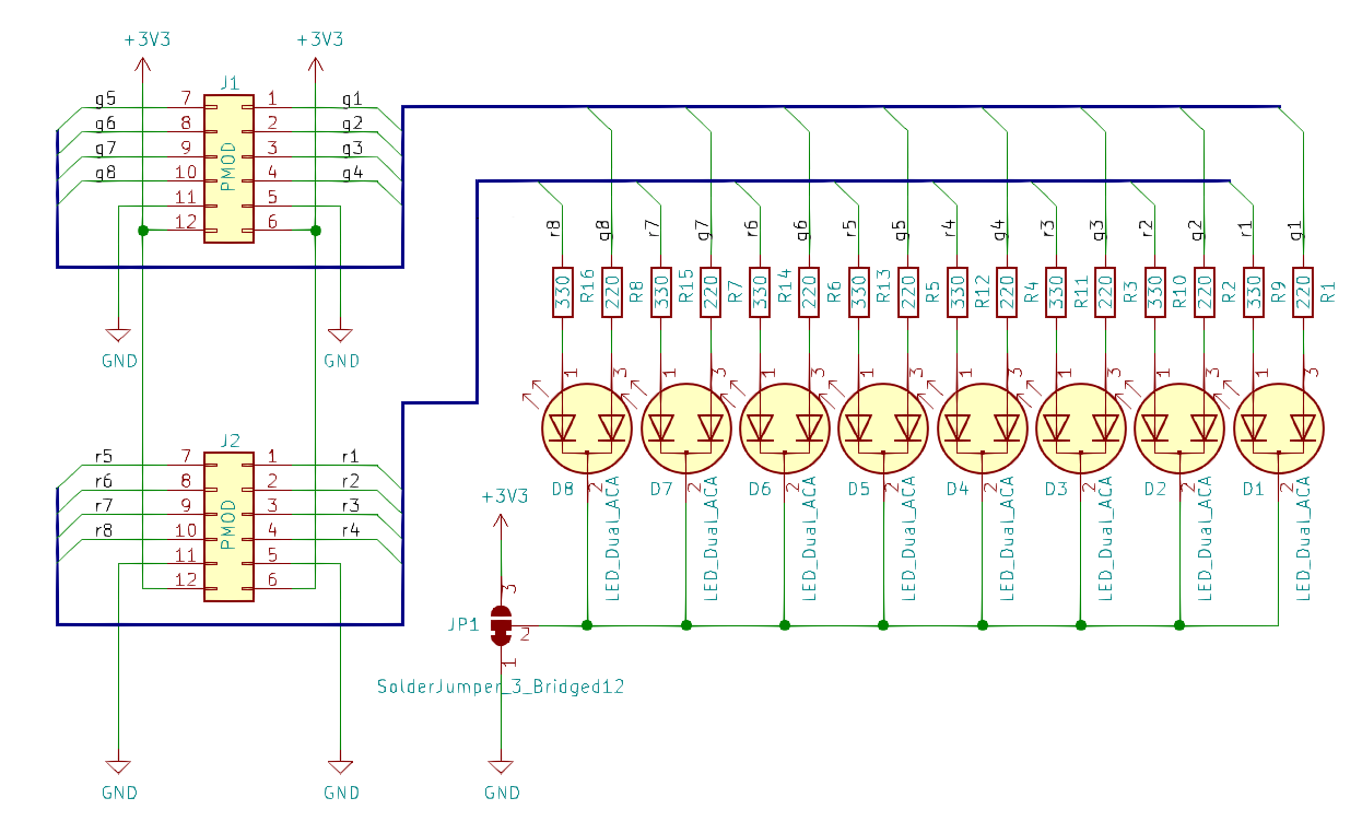 8LED2 PMOD Schematics
